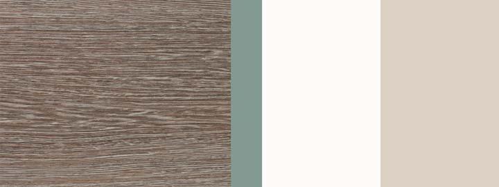 Farbklang Decor Wenge hell, Salbei-Grün hell, Weiß, Natursand