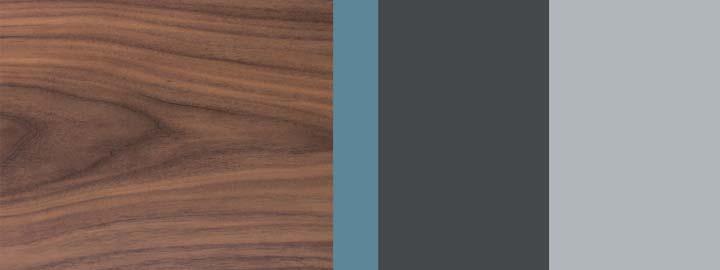 Farbklang Furnier Nussbaum, Atlantis-Blau hell, Graphit, Weißaluminium