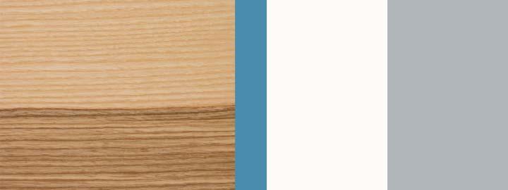 Farbklang Furnier Olivesche, Iris-Blau, Weiß, Weißaluminium