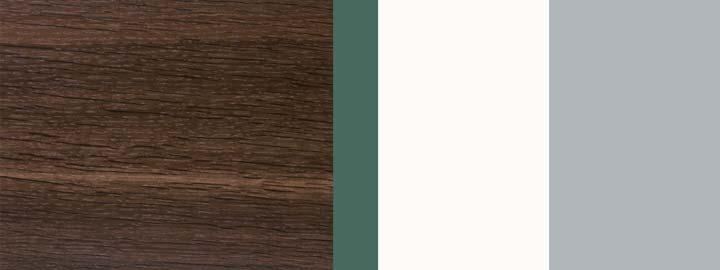 Farbklang Furnier Räuchereiche, Salbei-Grün, Weiß, Weißaluminium