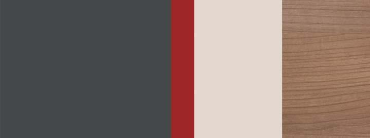 Farbklang Graphit, Granat-Rot, Natursand, Decor Havanna