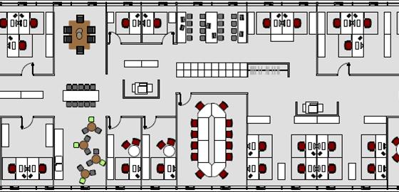 Planungsprinzip Bürokonzepte Bürolandschaft Draufsicht