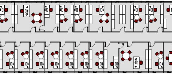 Planungsprinzip Bürokonzepte Zellenbüro Draufsicht