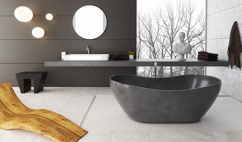 Bild von einer schwarzen, freistehenden Badewanne