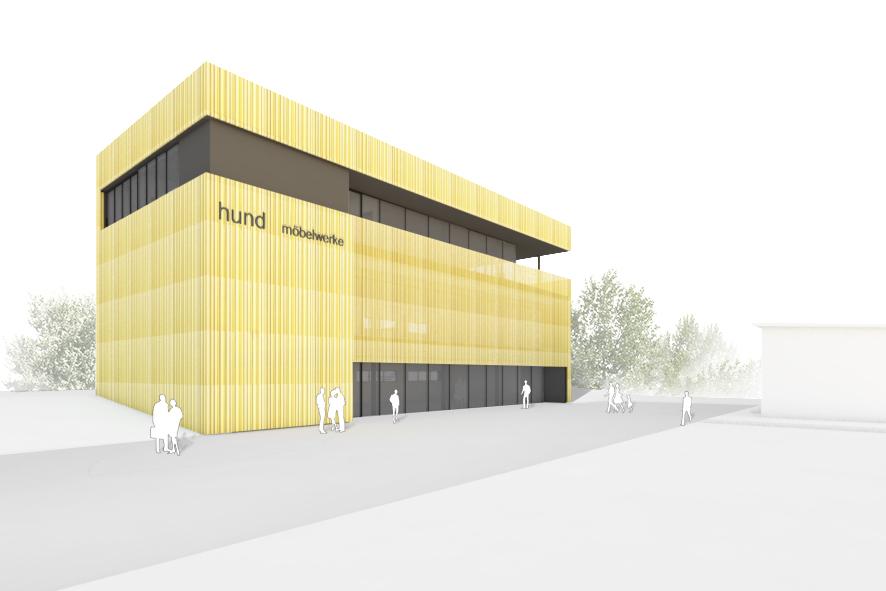 Hund Möbelwerke - Neubau der Ausstellung Außenperspektive