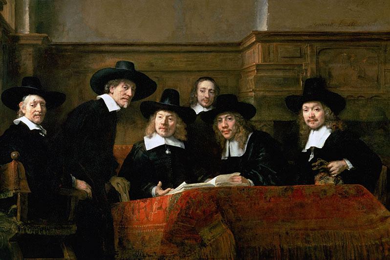 Rembrandt: Syndikus. Historiengemälde von Rechtsanwälten in schwarzen Talaren.
