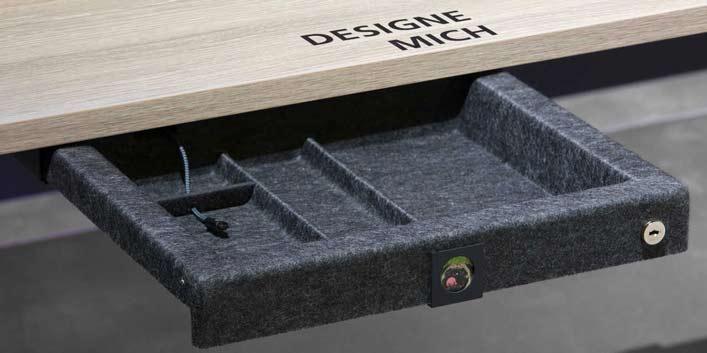 Personalisierbare Schublade aus Filz von Hund Möbelwerke – optimal für Desksharing
