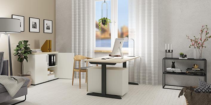 Home Office Arbeitsplatz einrichten mit höhenverstellbaren Schreibtisch für Ergonomie | Hund Möbelwerke
